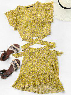 Wrap Top And Skirt Set - Yellow Xl