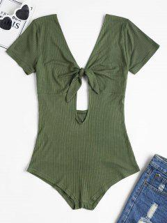 Open Back Knotted Bodysuit - Army Green L