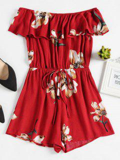 Floral Off The Shoulder Overlay Romper - Red Wine M