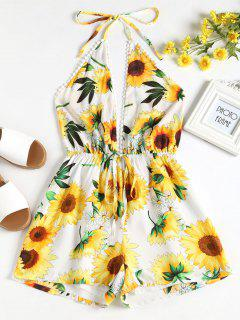Sunflower Halter Romper - White L