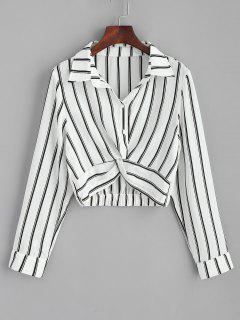 Striped Twisted Shirt - White S