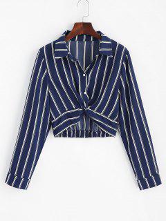 Striped Twisted Shirt - Midnight Blue L