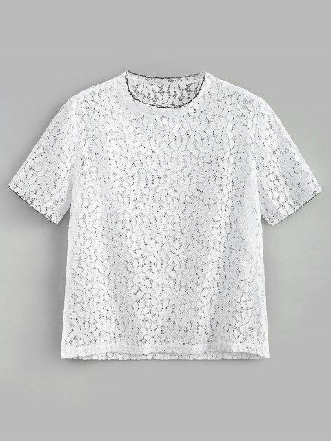 trendy Eyelet Lace Top - WHITE S Mobile