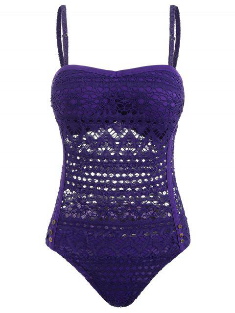 ladies Moulded Hollow Out Bodysuit - PURPLE AMETHYST L Mobile