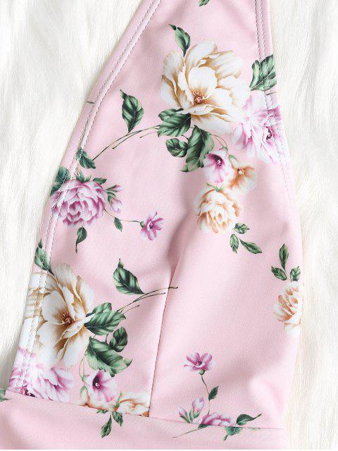 Traje de baño de pierna profunda con flores profundas - Cerdo Rosa L Mobile