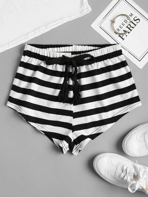 womens Drawstring Striped Shorts - BLACK L Mobile