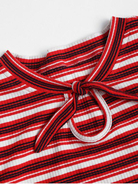 lady Knotted Striped Knit Tee - RED WINE L Mobile