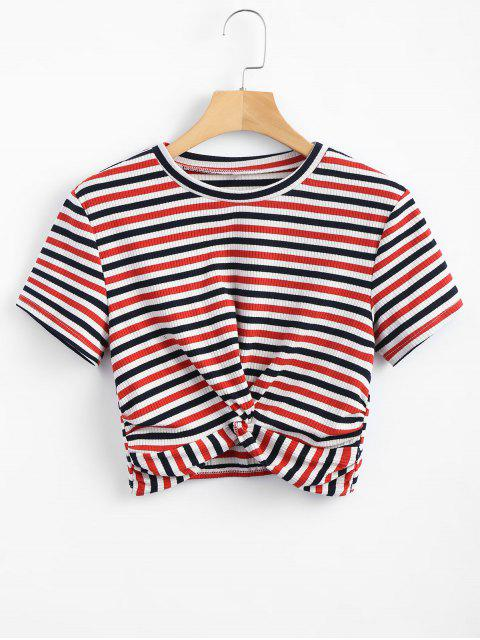 women's Striped Twist Knitted Tee - RED L Mobile