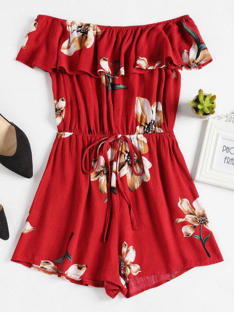 affordable Floral Off The Shoulder Overlay Romper - RED WINE XL Mobile