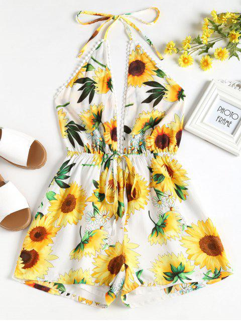 online Sunflower Halter Romper - WHITE L Mobile