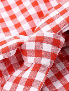 Hombro L Vestido Guinga En De Rojo El Con Volantes CC5pW8