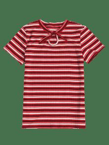 Con Tinto Anudadas Camiseta Punto Vino S Rayas De zRvgqE