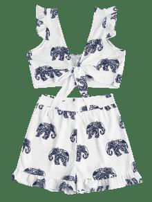 De Dos Tie Conjunto Elephant M Blanco Front Shorts Piezas v11qPcgf6