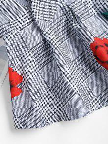 Tela Escocesa Negro La Anudada Blusa Floral M De w6n1HxFxq