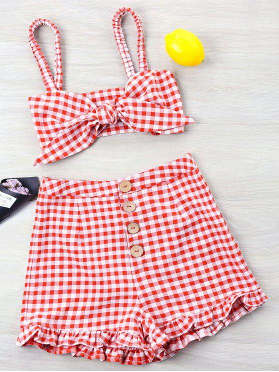 d6b6e254b71df1 27% OFF  2019 Gingham Ruffle Knotted Two Piece Set In RED
