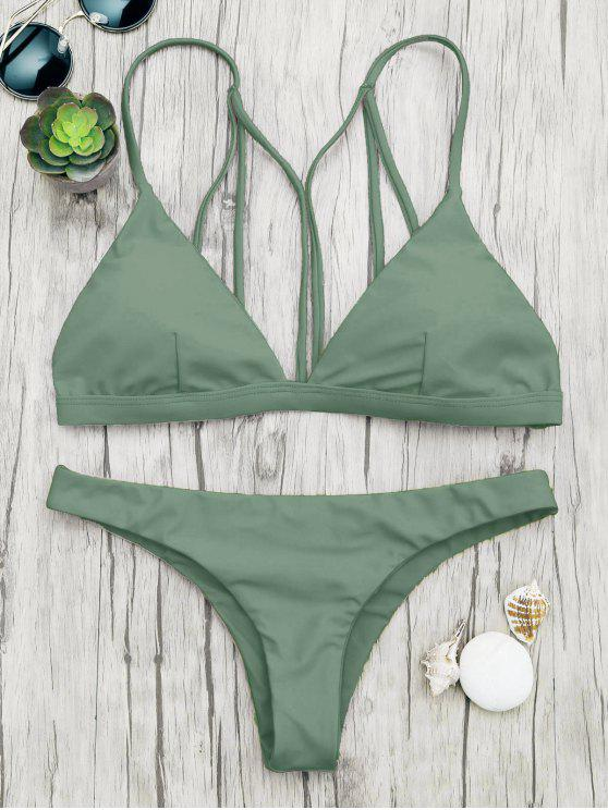 online Padded Back Strappy Bathing Suit - GREEN S