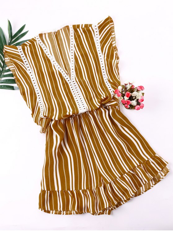 online Low Cut Flounced Striped Romper - GINGER BROWN XL