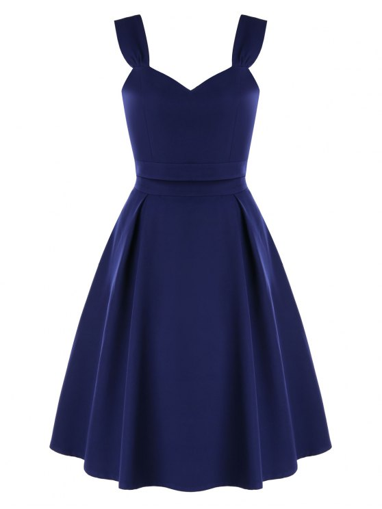 affordable High Waist Two-piece Prom Dress - MIDNIGHT BLUE M