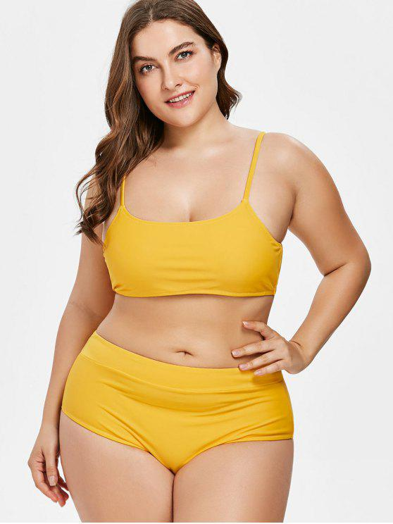 7e8d583ffae 42% OFF  2019 High Leg Plus Size Bikini In BRIGHT YELLOW 3X