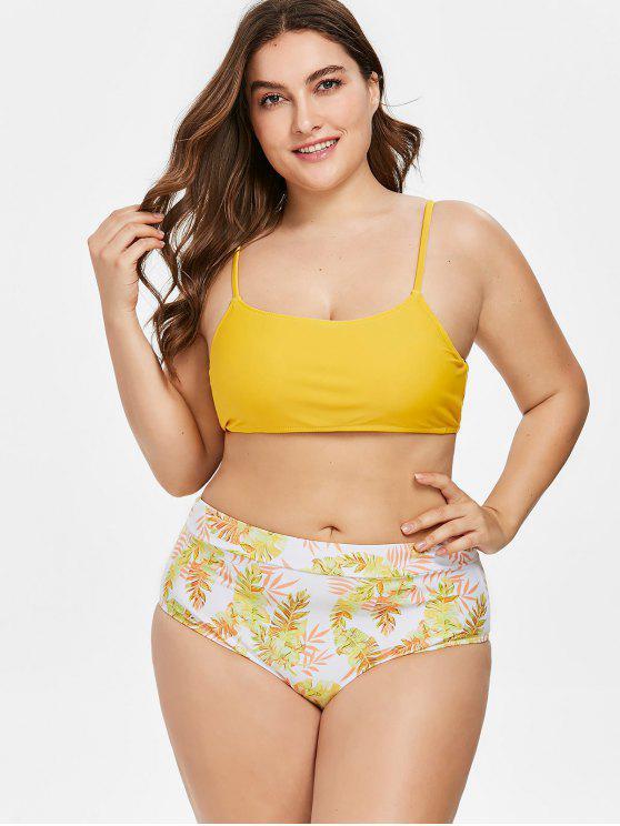Bikini talla grande con estampado de hojas de corte alto - Amarillo Brillante 3X