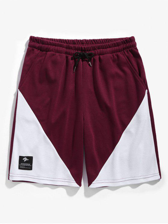 hot Drawstring Two Tone Basketball Shorts - RED WINE L