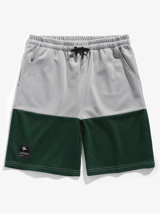 Zweifarbige Sport Basketballshorts - Grün M