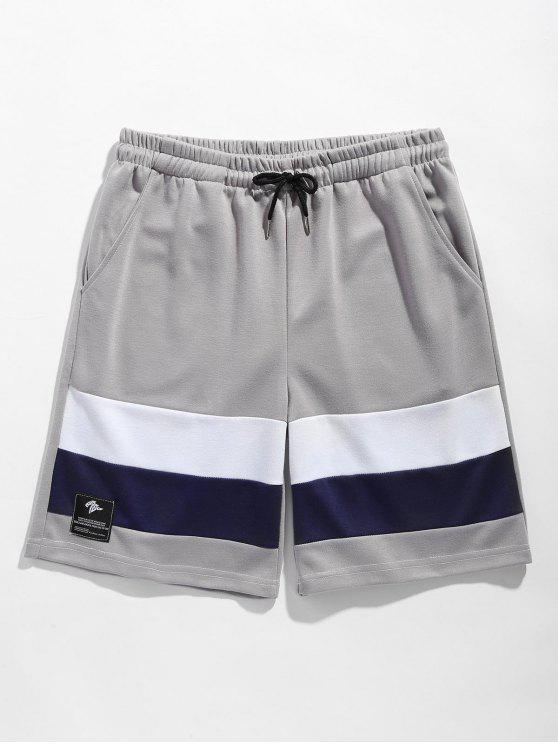 Color Block Drawstring Basketball Shorts - Gris M