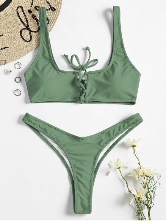 Schnürung Tanga Bikini-Set - Tarnanstrich Grün L