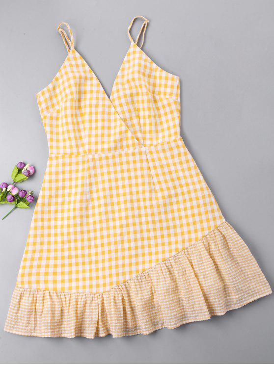 latest Gingham Open Back Surplice Dress - BRIGHT YELLOW M