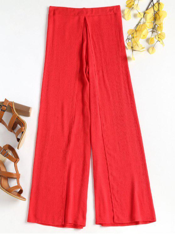 الشق تداخل سروال واسع الساق - أحمر L