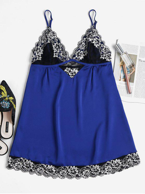 fancy Embroidered Lace Scallop Nightdress - COBALT BLUE M