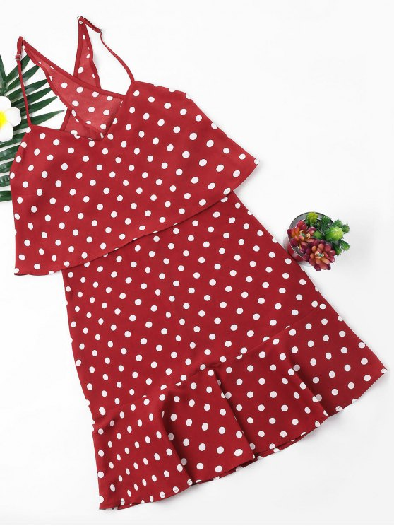 بولكا دوت بوبوفر اللباس - أحمر S