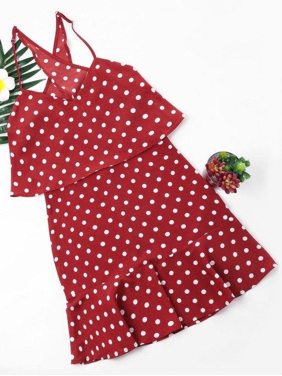 lady Polka Dot Popover Dress - RED M