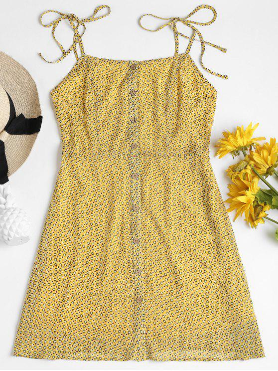 buy Printed Button Up Cami Dress - CORN YELLOW L