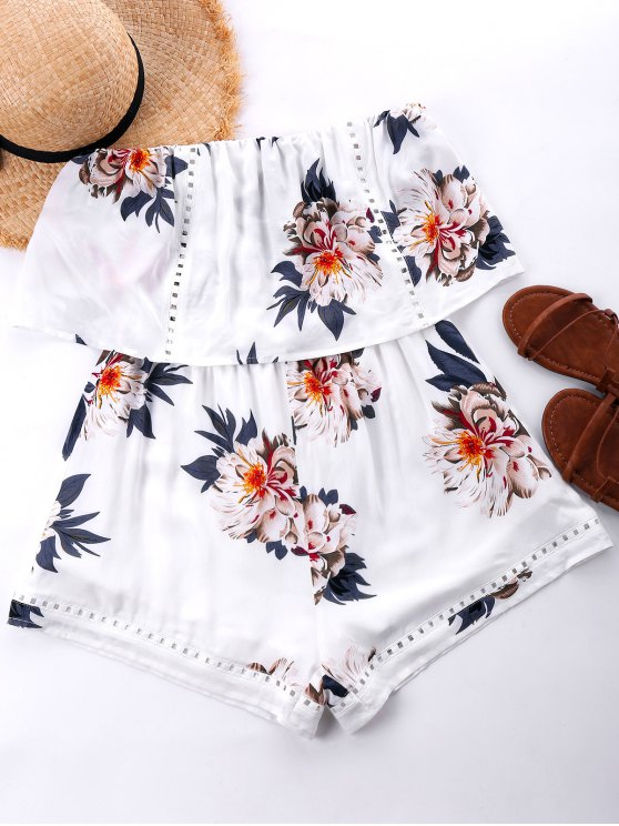 Combishort Hawaiien à Jambes Larges - Blanc XL