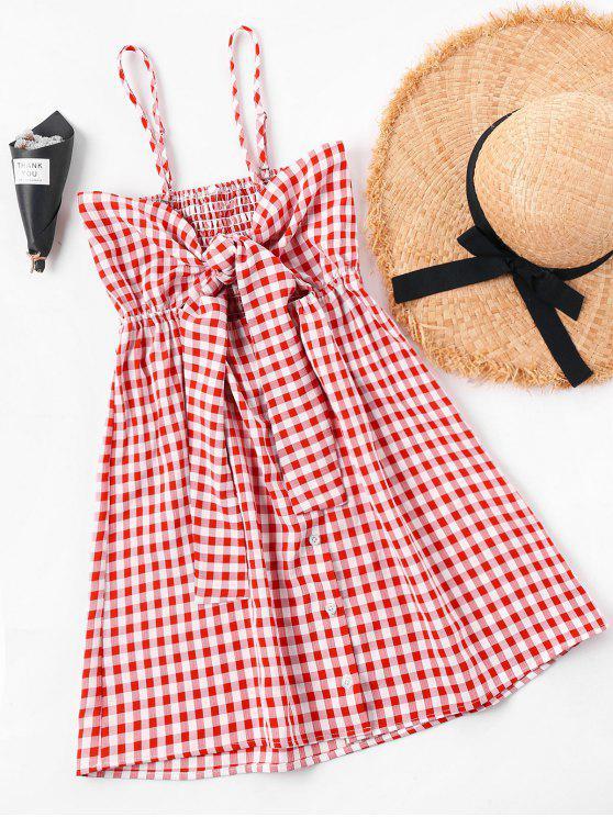 latest Summer Tartan Shirred Slip Dress - RED S