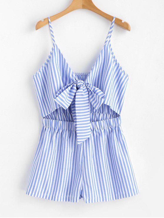 women Cami Striped Tie Front Romper - LIGHT SKY BLUE M