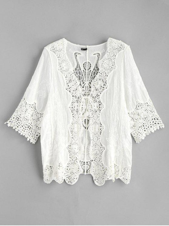 sale Tie Front Crochet Kimono - WHITE ONE SIZE