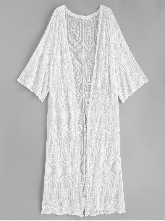 Bestickter Longline Kimono - Weiß Eine Größe