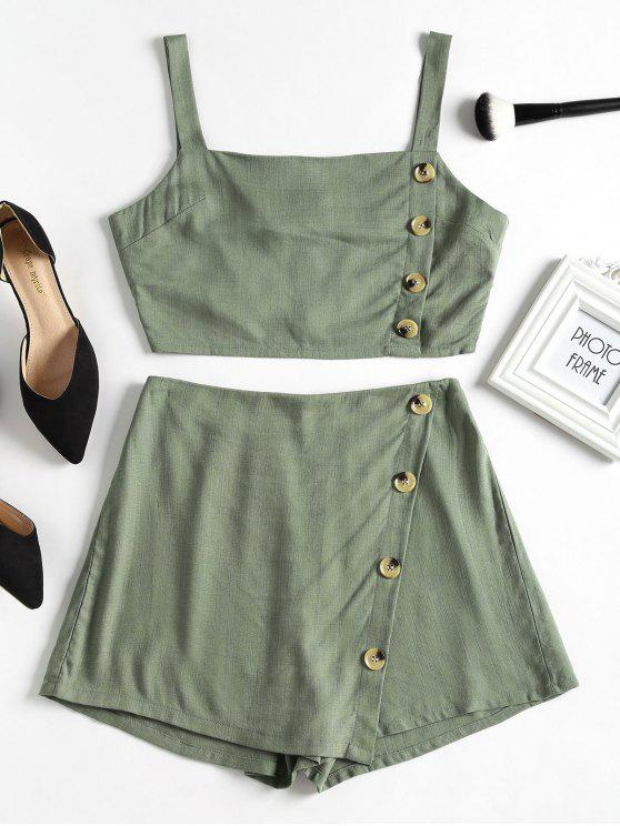 best Button Embellished Sleeveless Suit - CAMOUFLAGE GREEN L