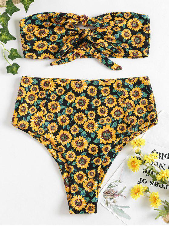 Knoten Sonnenblume Hohe Taille Bikini - Schwarz L