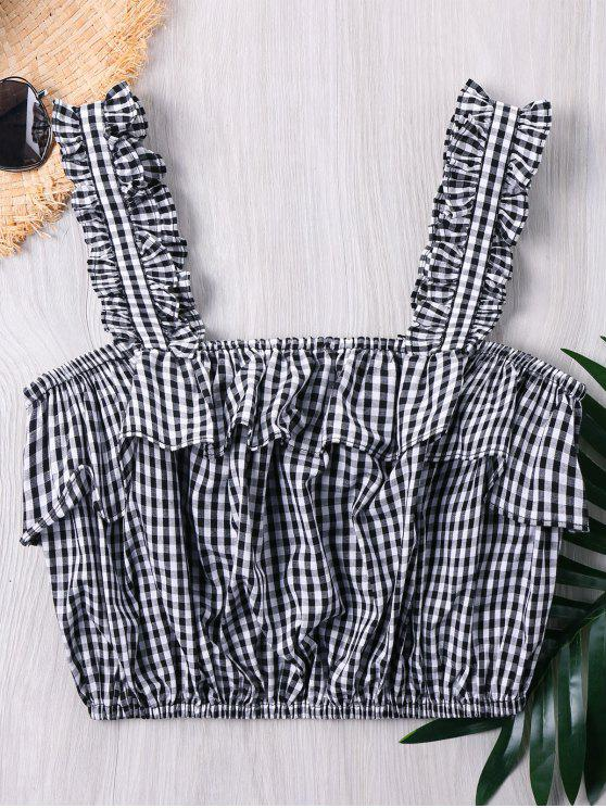 unique Frilled Gingham Print Crop Tank Top - GRAY L