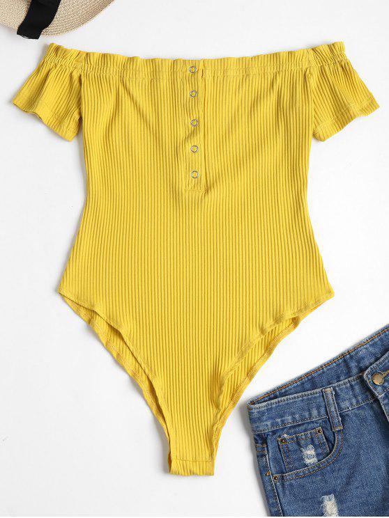 shop Snap Button Off Shoulder Bodysuit - CORN YELLOW XL