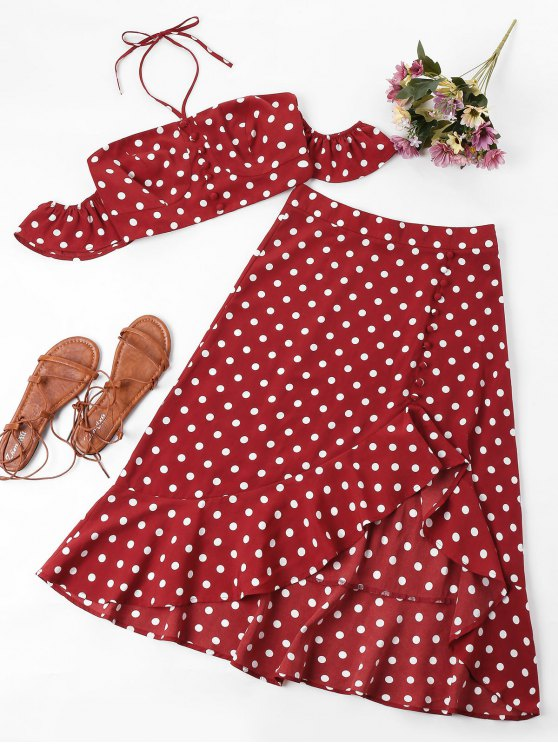 hot Polka Dot Two Piece Set - LOVE RED S