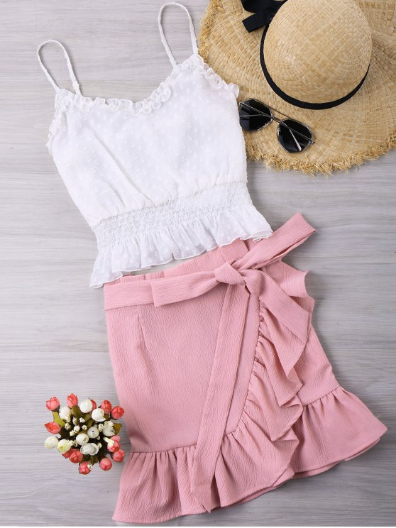 affordable Ruffles Trim Two Piece Set - WHITE S