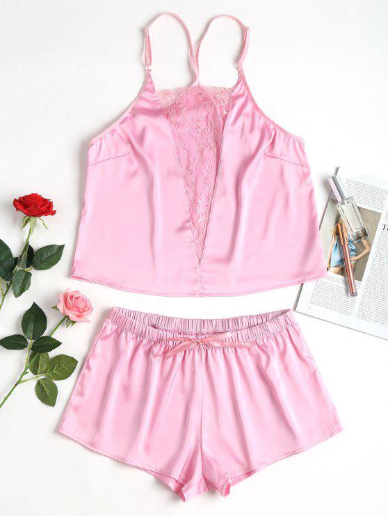 women's Lace Insert Satin Pajama Set - LIGHT PINK L
