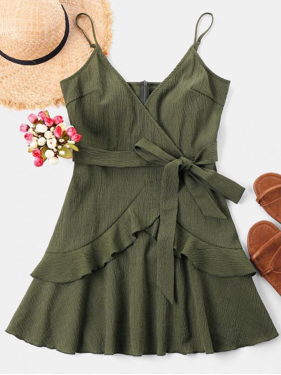 chic Ruffle Mini Cami Dress - ARMY GREEN L