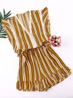Low Cut Flounced Striped Romper - Ginger Brown L