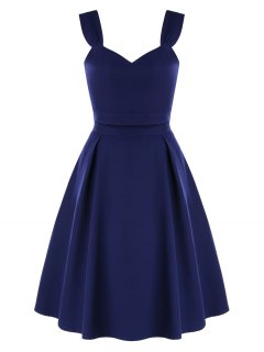 High Waist Two-piece Prom Dress - Midnight Blue Xl