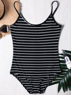 Streifen Gerippter Cami Bodysuit - Schwarz L
